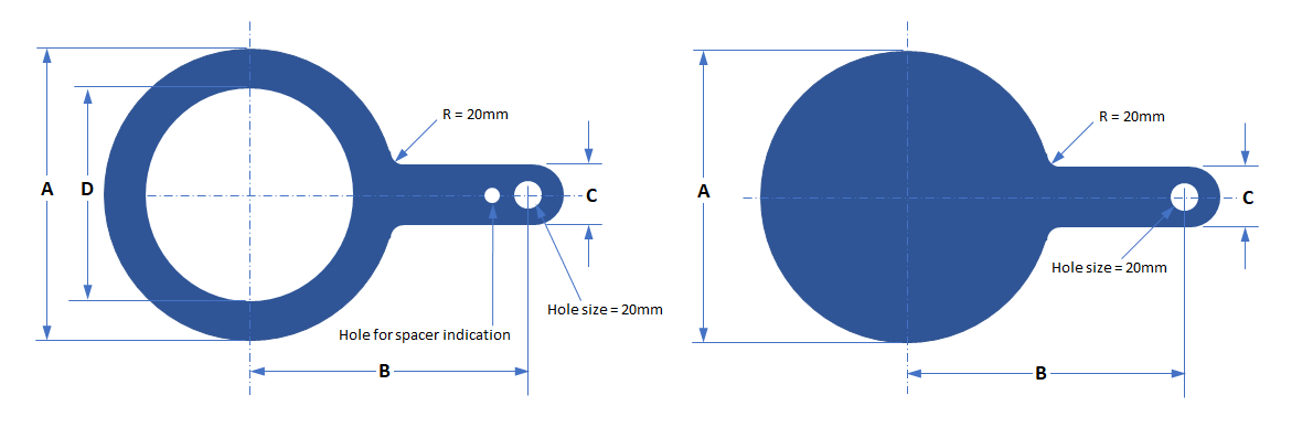 Dimensions Of Class 150 Spades Spacers For Series A Flanges