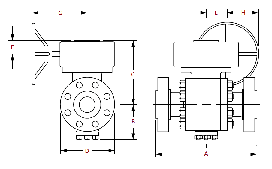 dimensions of class 300 gear operated ball valves to asme