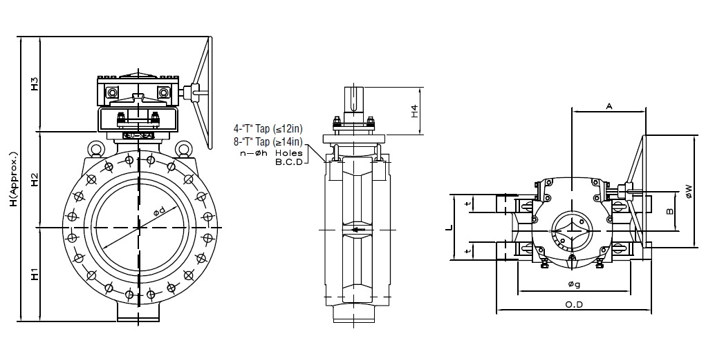 Dimensions of Class 600 Flanged Butterfly Valve