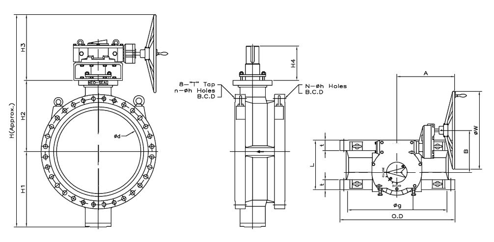 Dimensions of Class 300 Flanged Series B Butterfly Valve